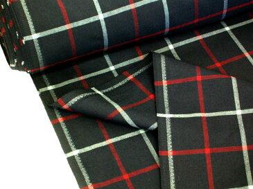 チェック柄ウール混生地/布HNA24 約155cm巾ウール50% テトロン50% 商用利用可能