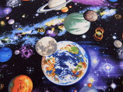 USAコットン生地布タイムレストレジャーズユニバースC4117Multi入園入学宇宙水星金星地球火星木星土星天王星海王星(冥王星)商用利用可能