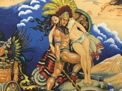 USAコットン生地布AztecLegendアズテックレジェンド8422Bブルーメキシコアステカの伝説アレキサンダーヘンリーファブリックス商用利用可能