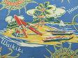 USAコットン 生地 布 ヴィンテージ風 ハワイアン柄 ストローハット柄 パナマハット 145 ブルー ハワイ アロハシャツブランド