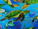 輸入 USAコットン 生地 布 タートルズ C9986Blue 入園入学 カメ 海亀 タイムレストレジャーズ Turtles 商用利用可能