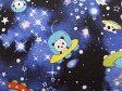 綿麻混 キャンバス生地 布 寝ぐせパンダ 宇宙に行く KTS6165Bネイビー 宇宙柄 UFO ロケット コットンこばやし 商用利用可能