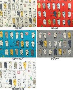 コットンリネン混キャンバス生地布洗濯物干しネコKTS6227動物柄ねこ猫小柄コットンこばやし商用利用可能