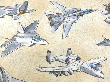 GM-C5890 輸入 USAコットン 生地 布 Fighter Planes ファイタープレーン GM−5890-Tan Timeless Treasures タイムレストレジャーズ 入園入学 戦闘機 飛行機 商用利用可能