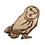【木tch】クルミの木・ブローチ barn-owl(メンフクロウ)