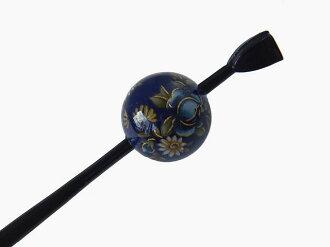 Beijing Jade Hairpin (lacquer type, Jade Hairpin) Navy Blue / chrysanth-rose ★ kuroneko non ★