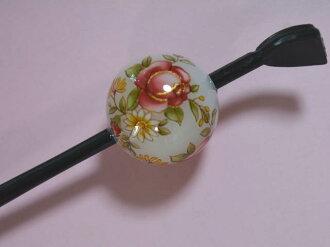 Beijing Jade Hairpin (lacquer type, Jade Hairpin) white / rose and chrysanthemum ★ kuroneko non ★