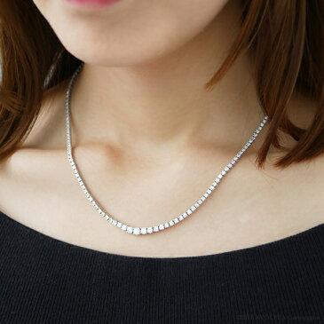 ダイヤモンド テニスネックレス プラチナ 合計5.0ct 162pc グラデーション フルネックレス 天然石 京セラ