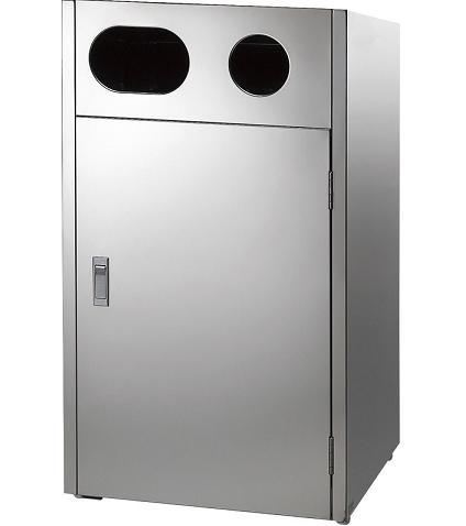 ※代引不可【屑入れ・ゴミ箱】【屋外用】【分別回収用】【ステンレス製】リサイクルボックスMT L9(単体2分別) (山崎産業)[YW-159L-SB]:業務用メラミン食器の通販KYOEI
