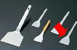 鉄板焼・お好み焼き用品 18-0ステンレス製 長柄厚口 文字ヘラ 34×130 (7-0939-1101)