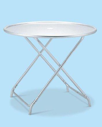 ※代引不可【ガーデン用品】【テーブル】【金属製(アルミ)】【パラソル対応】ガーデンアルミテーブル(折りたたみ式) (テラモト)[MZ-610-120-0]:業務用メラミン食器の通販KYOEI