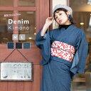(女単衣 デニム) 着物 デニム レディース 洗える 3colors デニム着物 女性 綿 M/L