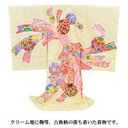 「ピンク地に鞠刺繍と牡丹・貝袷」お宮参りレンタル衣装女児祝着初着産着レンタル衣装