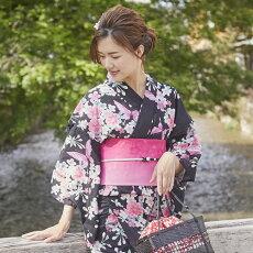 変わり織り浴衣3点セット『黒地に梅と蝶々』浴衣レトロモダン
