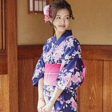 変わり織り浴衣3点セット『紫地に梅と蝶々』浴衣レトロモダン