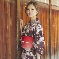 変わり織り浴衣3点セット『茶色地に椿と桜』浴衣レトロモダン
