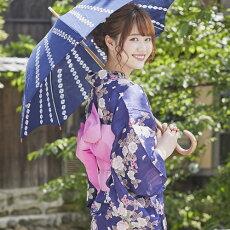 変わり織り浴衣3点セット『紺地に椿と桜』浴衣レトロモダン