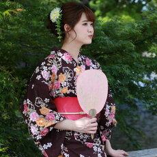 変わり織り浴衣3点セット『茶色地に椿と透かし桜』浴衣レトロモダン