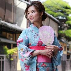 変わり織り浴衣3点セット『水色地に透かし桜』浴衣レトロモダン