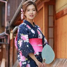 変わり織り浴衣3点セット『紫地に牡丹と桜』浴衣レトロモダン