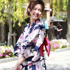 変わり織り浴衣3点セット『紺地に桜』浴衣レトロモダン