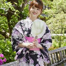 変わり織り浴衣3点セット『黒地に桜』浴衣レトロモダン