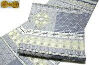 京都西陣織「大光織物謹製」薄い紺鼠色系単衣着物や夏着物に最適単衣夏物正絹袋帯