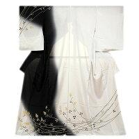 「本染め-萩」粋なボカシ染め黒色に薄グレー色系高級ちりめん使用夏物絽正絹訪問着