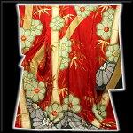 ■金駒刺繍金彩加工絞り入り地紋赤色系振袖■
