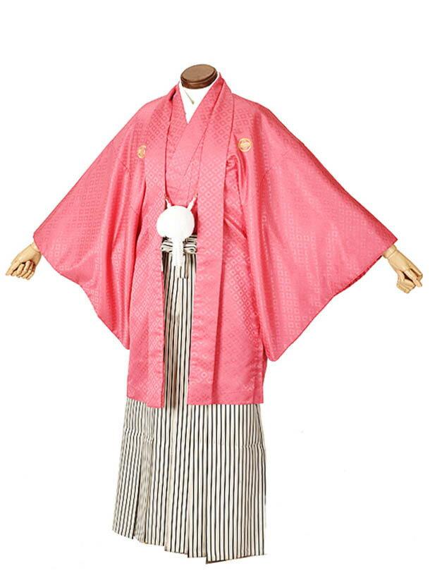 【レンタル】ピンク 袴 男 成人式 卒業式袴 結婚式袴 紋付袴 男性袴 メンズ袴 フルセットレンタル 送料無料 170cmから175cm 足袋プレゼント
