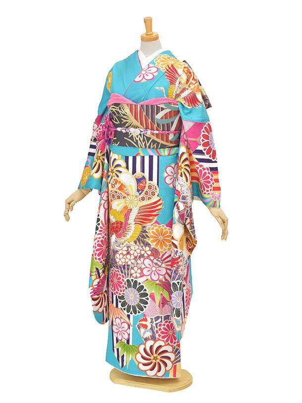 【レンタル】振袖 成人式 結納 およばれ 水色鶴モダンFR615トールサイズ 正絹 姉妹結婚式 個性的振袖 モダン着物 豪華振袖 2次会 式典 レンタル振袖 フルセット 足袋プレゼント 送料無料