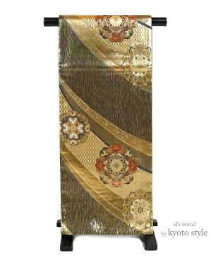 【袋帯 レンタル】 帯 成人式 結婚式 振袖 訪問着 留袖 金 日本製 六通 フォーマル 往復送料無料 73093