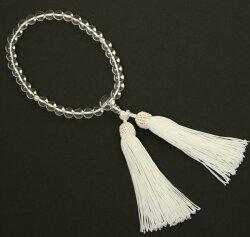 【念珠】女物数珠水晶(真珠入り)J1106