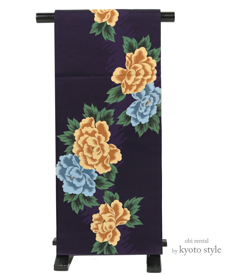 袋帯 レンタル 帯 黒 ブラック 単品レンタル 貸衣裳 振袖 訪問着 礼装 レディース 帯レンタル 紫 パープル 牡丹73063