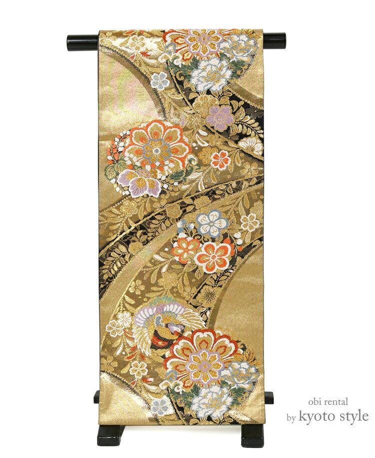 袋帯 レンタル 帯 成人式 結婚式 礼装 フォーマル パーティー 振袖 訪問着 【レンタル】 貸衣裳 単品レンタル 金 ゴールド 華やか 帯だけ 73068
