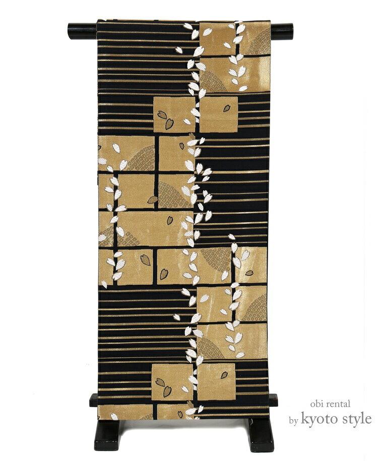 【レンタル】袋帯 レンタル 帯 貸衣装 成人式 結婚式 結納 金 西陣織 桜 女性 レディース 帯だけ 単品 レンタル 往復送料無料 黒 金 73084