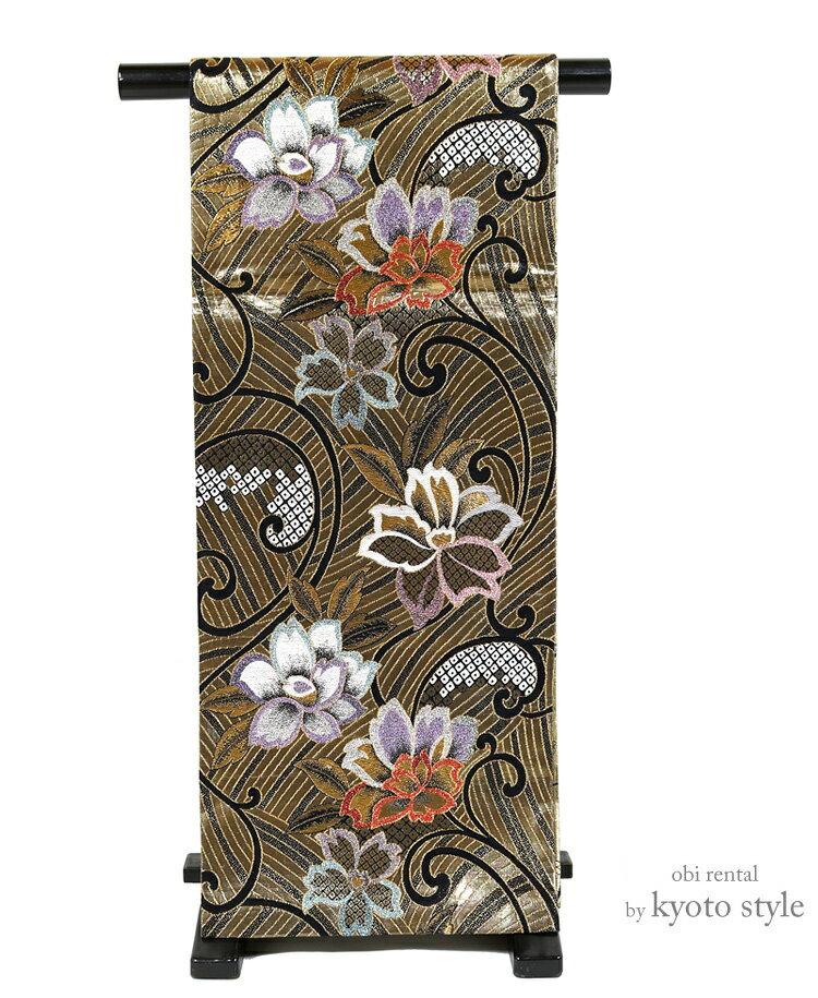 【レンタル】袋帯 西陣織 帯 レディース 女性 貸衣裳 金 成人式 結納 結婚式 振袖用 礼装 フォーマル 帯だけ 単品 レンタル 華やか 73090