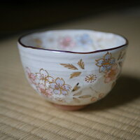 京焼・清水焼抹茶茶碗陶器絵柄桜口径12cm高さ8cm和食器