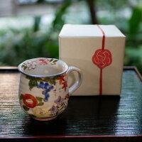 京焼・清水焼マグカップ陶器絵柄四季草花高さ9センチ口径7.5センチ