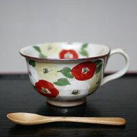 京焼・清水焼スープカップ陶器絵柄椿高さ7センチ口径11センチ