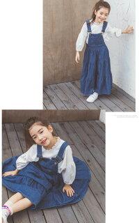 子供服女の子ワンピースドレスワンピース女の子マキシ丈ロング長袖デニムサロペット超可愛い春秋韓国子供服キッズおしゃれお出かけ