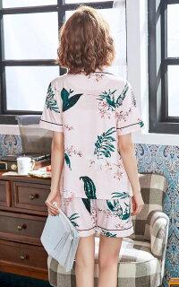送料無料パジャマレディース春夏前開きパジャマ半袖上下セットパジャマアイスクリーム柄韓国風レディースルームウエア部屋着シャツパジャマ可愛い