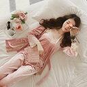 パジャマ ルームウェア レディース 秋冬 前開き パジャマ ベルベット 長袖ガウン ロングパンツ ルームウェア 女性 可愛い 部屋着 寝巻き ランジェリー 5色