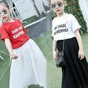 子供トップス+スカートTシャツ ロングスカートブラウス チェックセット キッズ フォーマル カジュアルスカートセット 子供服 チュチュスカート 2点上下セット