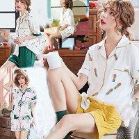 パジャマレディース春夏前開きパジャマ半袖上下セットパジャマアイスクリーム柄韓国風レディースルームウエア部屋着シャツパジャマ可愛い