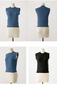 ニットベストノースリーブクルーネック無地シンプルあぜ編みSサイズXLサイズ伸縮性リブファッション