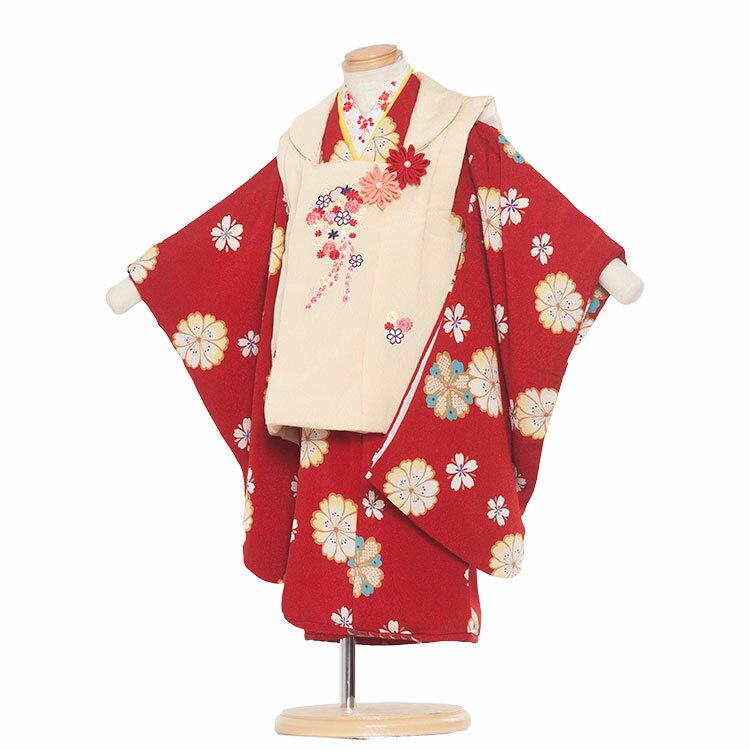 【レンタル】七五三 着物 2歳 女の子 レンタル フルセット 七五三レンタル 2歳女の子 二歳 女児 被布セットレンタル七五三 753 被布 小柄な3歳 2歳着物 着物レンタル セットひな祭り京都 送料無料/2090 赤地/和花