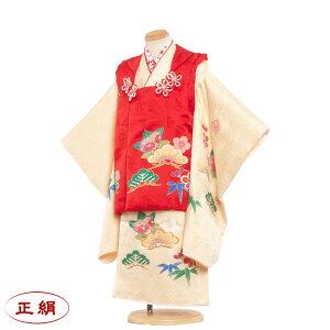 [Rental] Pure silk Shichigosan kimono 3 year old girl rental fashionable Japanese style modern classic Pattern 3-year-old girl Covered 753 Kimono Covered set 753 Hinamatsuri Kimono Shichigosan Rental costume Rental costume Free shipping /) 4019 Cream / Hand-painted original