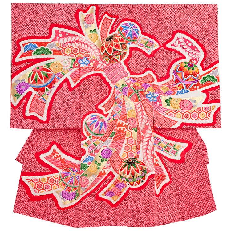【レンタル】お宮参り/着物 女児 祝い着 女 のしめ 産着 初着 宮参り 京都 赤ちゃん ベビー帽子セット無料レンタル かわいい 送料無料 /1215 赤/絞り調/毬と束のし