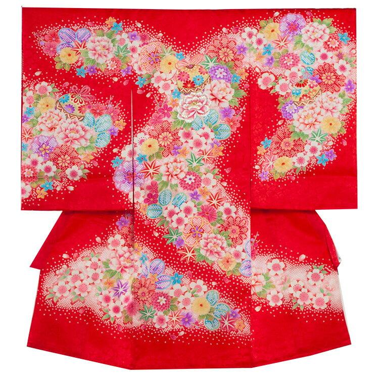 【レンタル】お宮参り/着物 女児 祝い着 女 のしめ 産着 初着 宮参り 京都 赤ちゃん ベビー帽子セット無料レンタル かわいい 送料無料 /1244赤/毬と花